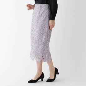 【美人百花11月号掲載】花柄レースタイトスカート (ライトパープル)