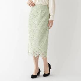【美人百花11月号掲載】花柄レースタイトスカート (ライトグリーン)