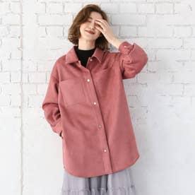 【WEB限定Lサイズあり】スエードポンチシャツアウター (ピンク)
