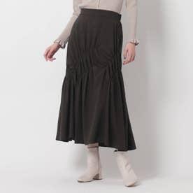 【美人百花11月号掲載】アシンメトリーシャーリングスカート (ディープグレー)