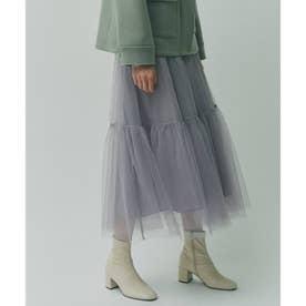 【WEB限定Lサイズあり】チュールティアードスカート (ライトグレー)