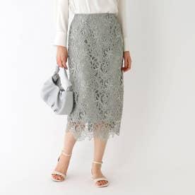 フラワーレースタイトスカート (オリーブグリーン)