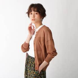 ポケットデザインシアーカーディガン (ダークオレンジ)