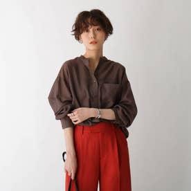 バンドカラーシアーシャツ【GISELeコラボ商品】 (ダークブラウン)