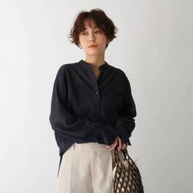 バンドカラーシアーシャツ【GISELeコラボ商品】 (ネイビー)