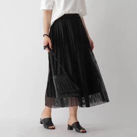 メッシュプリーツスカート (ブラック)
