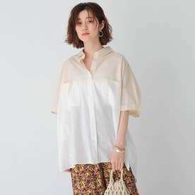 グラデコットンシャツ (オフホワイト)