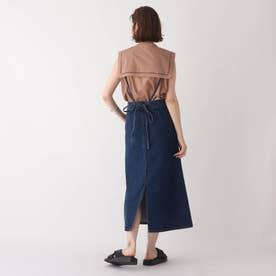 サス付きデニムロングナロースカート【WEB限定サイズ】 (ネイビー)