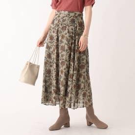 ラメドット更紗柄ナロースカート【WEB限定サイズ】 (ベージュ)