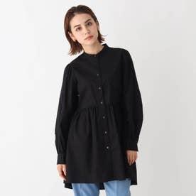 コットンポプリンバンドカラーシャツチュニック【WEB限定サイズ】 (ブラック)