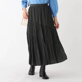 割繊サテン スラントギャザーAラインフレアスカート【WEB限定サイズ】 (チャコールグレー)