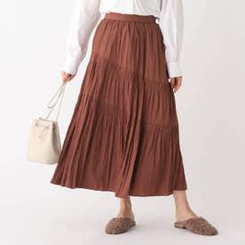割繊サテン スラントギャザーAラインフレアスカート【WEB限定サイズ】 (ダークブラウン)