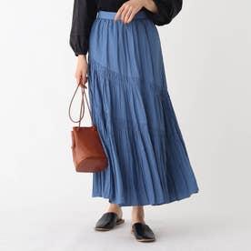 割繊サテン スラントギャザーAラインフレアスカート【WEB限定サイズ】 (ブルー)