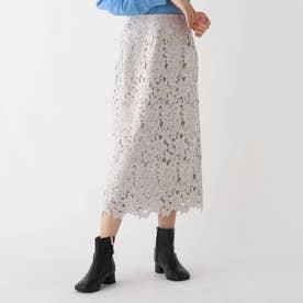 フラワーレースタイトスカート (ライトグレー)