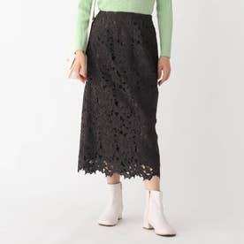 フラワーレースタイトスカート (チャコールグレー)