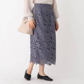 フラワーレースタイトスカート (ブルー)
