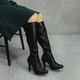 【日本製】ポインテッドトゥ/ストレスフリーロングブーツ/10.5cmヒール (ブラック)