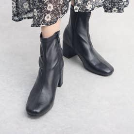 スクエアトゥ/ストレスフリーショートブーツ/6cmヒール(ブラック)