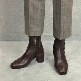 スクエアトゥ/ストレスフリーショートブーツ/6cmヒール(ダークブラウン)