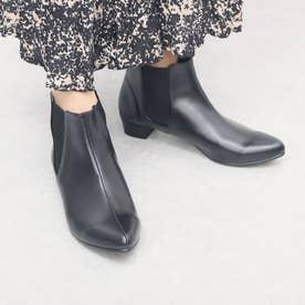 【日本製】アーモンドトゥ/サイドゴアショートブーツ/3cmヒール(ブラック)