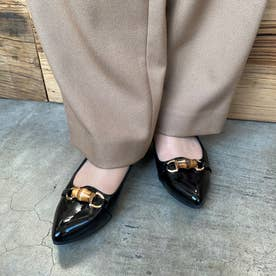 【日本製】3.5cmポインテッドトゥビットレインローヒールパンプス (ブラックエナメル)