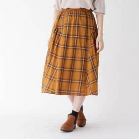【ハンドウォッシュ】チェック切り替えフレアスカート (キャメル)