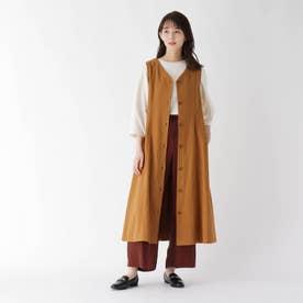 【ハンドウォッシュ】2WAYリネン混ジャンスカジレ (キャメル)