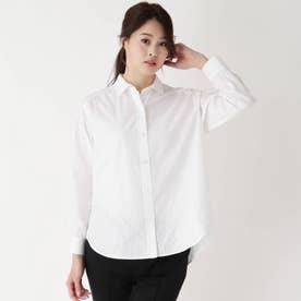 サテンストライプスタンダードシャツ (ホワイト)
