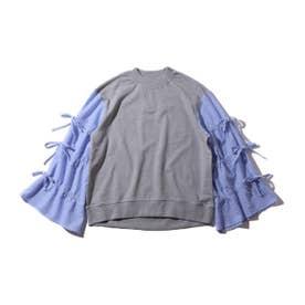 eyeye CHECK DRAWSTRING LACE UP SWEATSHIR (BLUE)