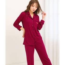 【パジャマ】無地 パジャマ 上下セット ボルドー/BO