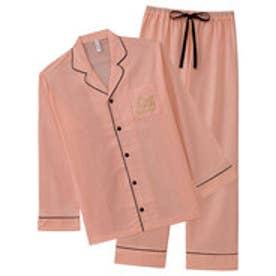 ペア長袖シャツパジャマ上下セット(男女兼用サイズ) サーモンピンク/SP