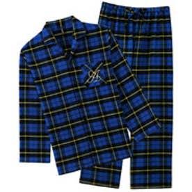 ネルシャツ2パジャマ上下セット(男女兼用サイズ) (ブルー×イエロー/NB)