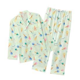 スイーツ柄 長袖 シャツパジャマ 上下セット (サックス/SX)