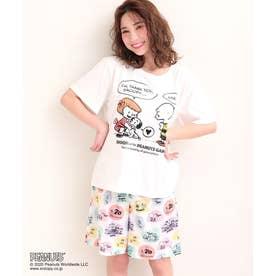 PEANUTS70周年記念 レトロスヌーピー Tシャツ 上下セット (ホワイト/W)
