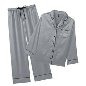 シルクタッチサテン パジャマ 上下セット (シルバーグレー/SG)