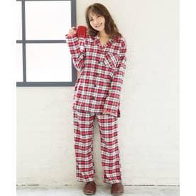 ネルシャツ2 パジャマ 上下セット (男女兼用サイズ) (レッド×ホワイト/BO)