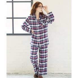 ネルシャツ2 パジャマ 上下セット (男女兼用サイズ) (ネイビー×レッド/NV57)