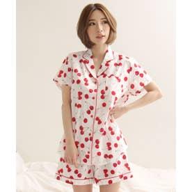 綿100% 半袖 シャツパジャマ 上下セット (W-ホワイト)