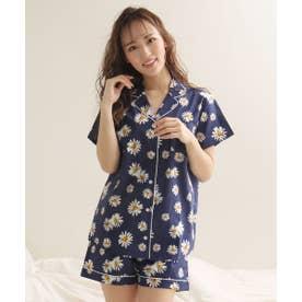 綿100% 半袖 シャツパジャマ 上下セット (NV-ネイビー)