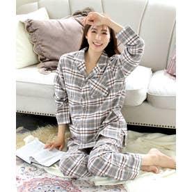 ネルシャツ2 パジャマ 上下セット (男女兼用サイズ) (MG-グレー×ブラウン)