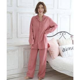 ネルシャツ2 パジャマ 上下セット (男女兼用サイズ) (PI-ピンク)