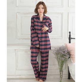 ネルシャツ2 パジャマ 上下セット (男女兼用サイズ) (BO3-レッド×ネイビー)