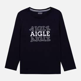 オーガニックコットン ロゴ 長袖Tシャツ (ネイビー)