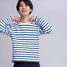 吸水速乾 ストライプ 長袖Tシャツ (ホワイト×ブルー)