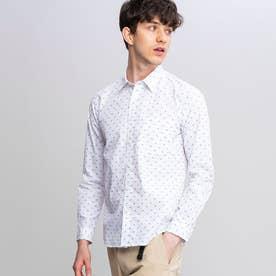吸水速乾 ダブルストライプ ドット 長袖シャツ (ホワイト)