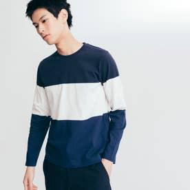 吸水速乾 3 GIB カラーブロック 長袖Tシャツ (ダークネイビー)