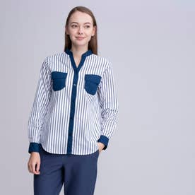 吸水速乾 ストライプ ノーカラー デザインポケット 長袖シャツ (ネイビー)