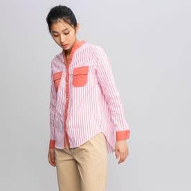 吸水速乾 ストライプ ノーカラー デザインポケット 長袖シャツ (ピンク)