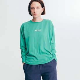 吸水速乾 ミニロゴ 長袖Tシャツ (グリーン)