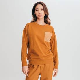 ポケット リラックス 長袖Tシャツ (オレンジ)